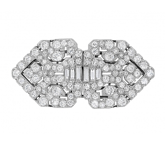 Art Deco Diamond Double-Clip Brooch in Platinum