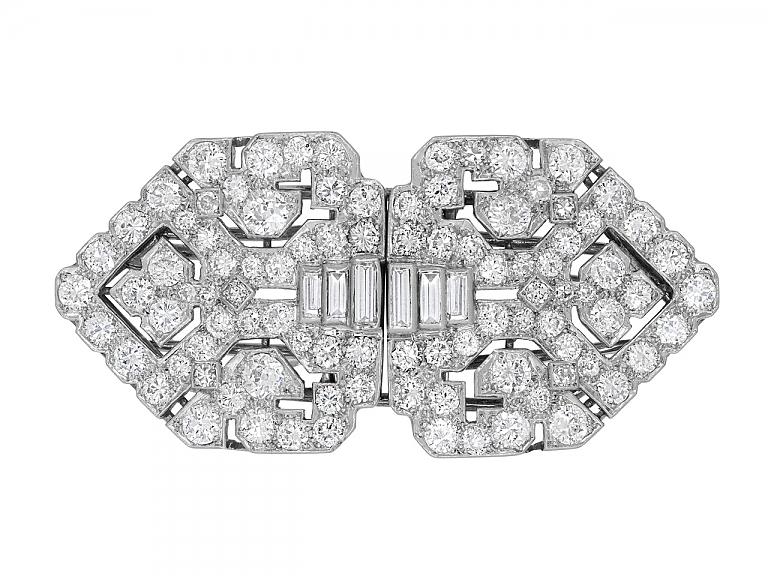 Video of Art Deco Diamond Double-Clip Brooch in Platinum