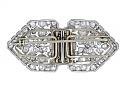 Art Deco Diamond Double-Clip Brooch in Platinum