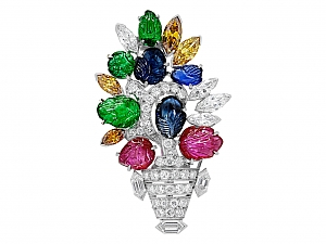 Art Deco Tutti Frutti Brooch in Platinum
