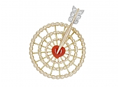 Cartier Mid-Century 'Targeted Love' Brooch in 14K Gold