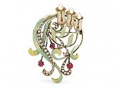 Art Nouveau Diamond, Ruby, Pearl and Enamel Brooch in 15K