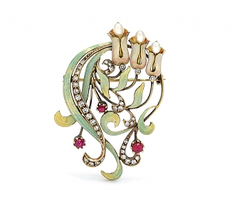 Art Nouveau Diamond, Ruby, Pearl and Enamel Brooch in 15K