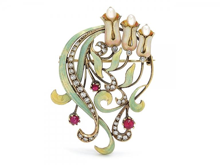 Video of Art Nouveau Diamond, Ruby, Pearl and Enamel Brooch in 15K