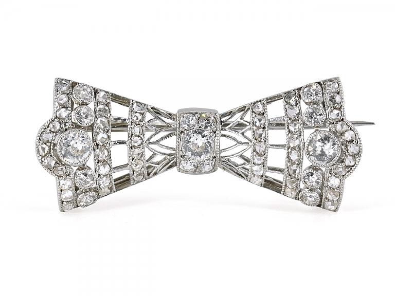 Video of Antique Diamond Bow Pin in Platinum