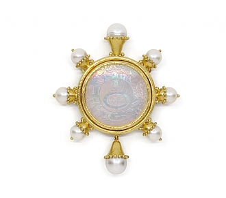 Elizabeth Locke Pearl and Mother-of-Pearl Brooch