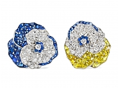 Pair of Oscar Heyman Sapphire and Diamond Pansy Brooches in Platinum