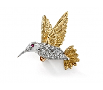 Diamond Hummingbird Pin in 18K and 14K Gold