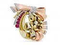 Retro Ruby and Diamond Brooch in 14K Yellow and Rose Gold