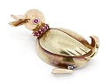Retro Ruby Duck Pin in 14K Yellow and Rose Gold