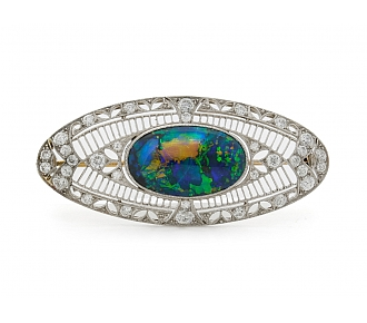 Marcus & Co. Black Opal and Diamond Brooch in Platinum