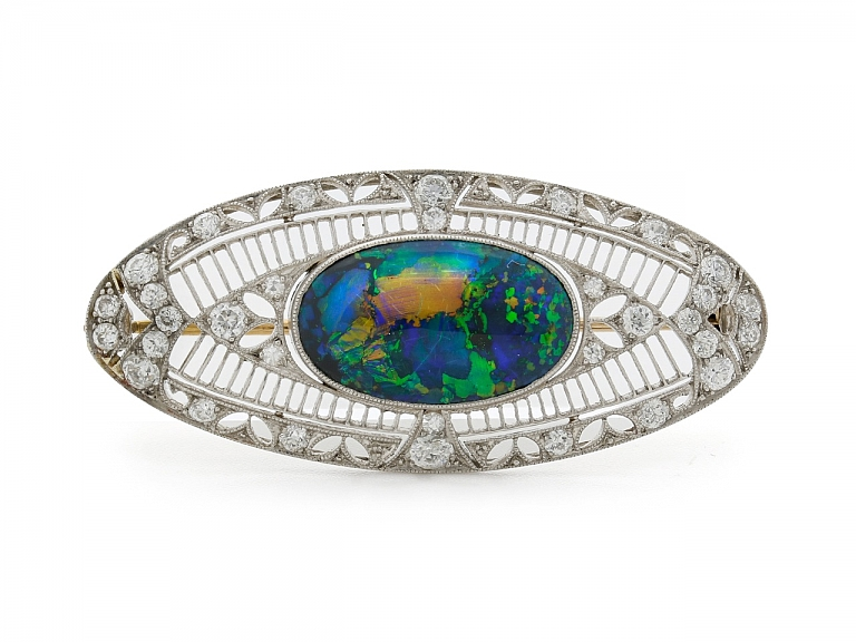 Video of Marcus & Co. Black Opal and Diamond Brooch in Platinum