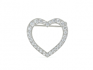 Tiffany 'Outline' Diamond Heart Brooch in Platinum