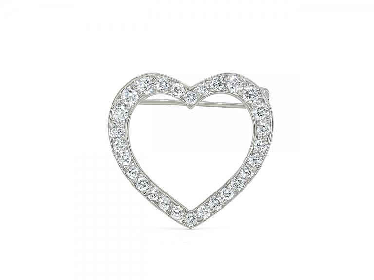 Video of Tiffany 'Outline' Diamond Heart Brooch in Platinum