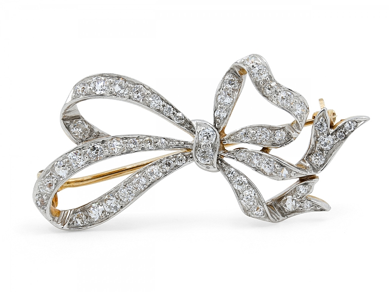 Video of Diamond Bow Brooch in Platinum and 18K Gold