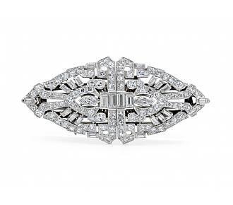 Art Deco Diamond Double Clip Brooch in Platinum