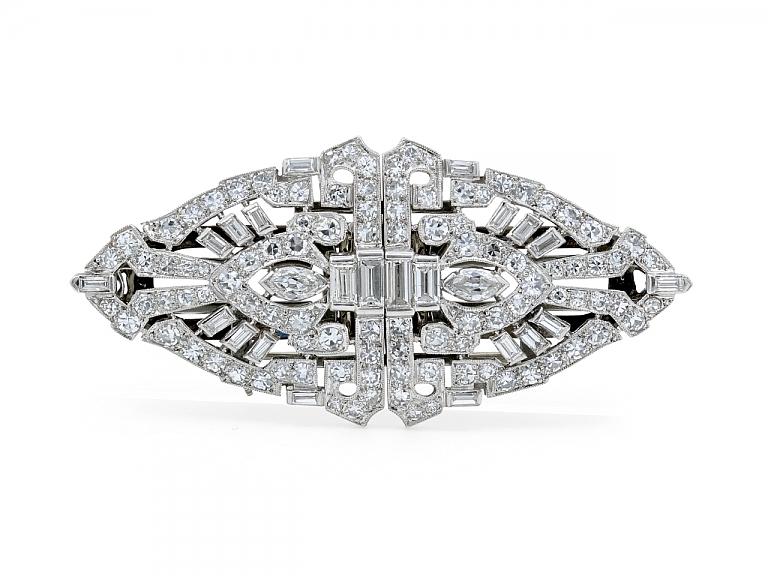 Video of Art Deco Diamond Double Clip Brooch in Platinum