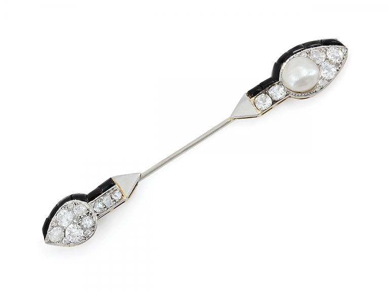 Video of French Art Deco Diamond, Natural Pearl and Onyx Jabot Pin in 18K Gold