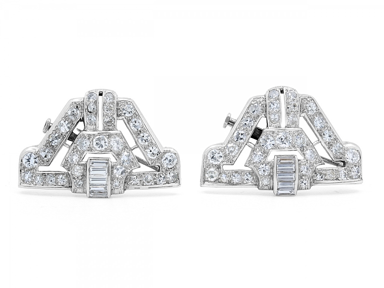 Video of Pair of Art Deco Diamond Brooches in Platinum
