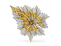 Tiffany & Co. Schlumberger 'Marquetry' Yellow and White Diamond Leaf Brooch, in Platinum and 18K Gold