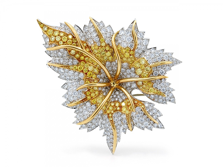 Video of Tiffany & Co. Schlumberger 'Marquetry' Yellow and White Diamond Leaf Brooch, in Platinum and 18K Gold