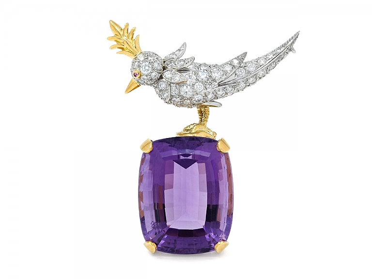 Video of Tiffany & Co. Schlumberger 'Bird on a Rock', Amethyst, Diamond and Ruby Brooch