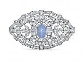 Mid-Century Star Sapphire and Diamond Brooch in Platinum