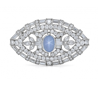Mid-Century Star Sapphire and Diamond Brooch in Platinum