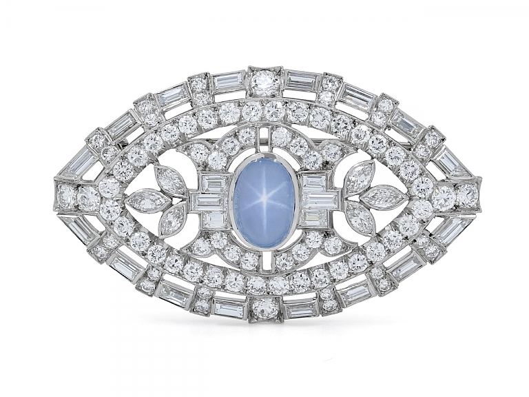 Video of Mid-Century Star Sapphire and Diamond Brooch in Platinum