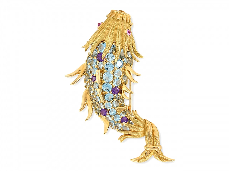 Video of Tiffany & Co. Schlumberger Fish Clip Brooch in 18K Gold