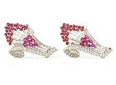 Pair of Ruby and Diamond Spray Brooches in 18K White Gold