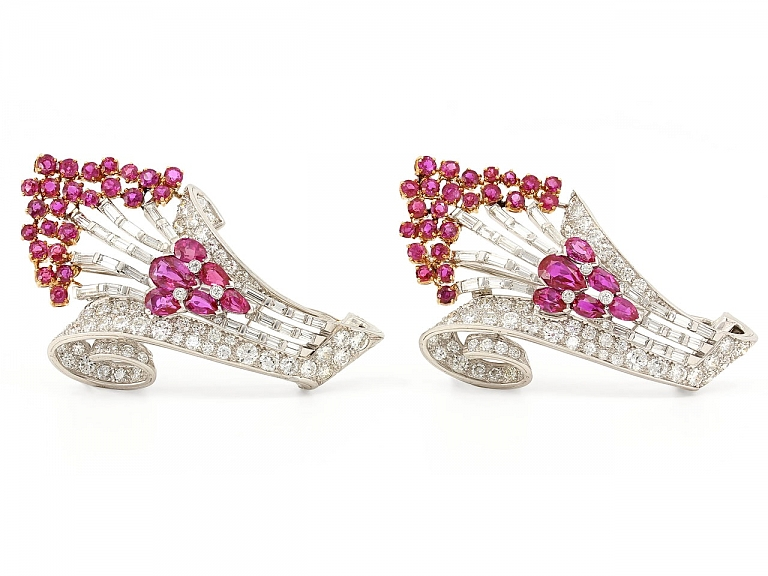 Video of Pair of Ruby and Diamond Spray Brooches in 18K White Gold