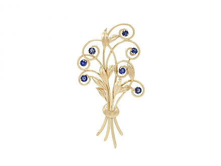 Tiffany & Co. Retro Montana Sapphire Bouquet Brooch in 14K Gold