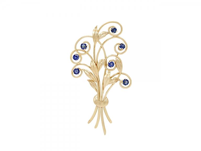 Video of Tiffany & Co. Retro Montana Sapphire Bouquet Brooch in 14K Gold