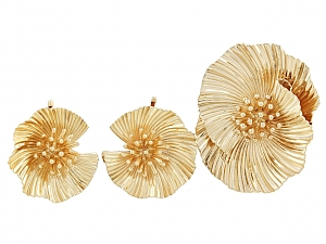 Mid-Century Flower Brooch and Earrings in 14K
