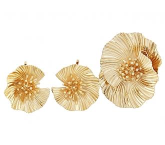 Mid-Century Flower Brooch and Earrings in 14K