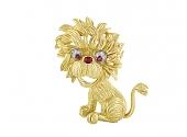 Hammerman Brothers Mid-Century Lion Brooch in 18K Gold