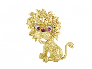 Hammerman Brothers Mid-Century Lion Brooch in 18K Gold