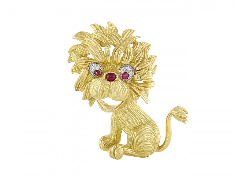 Video of Hammerman Brothers Mid-Century Lion Brooch in 18K Gold