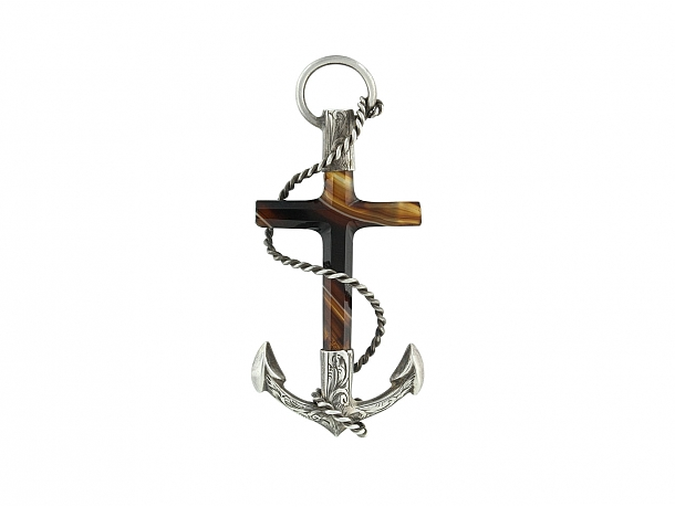 Antique Victorian Scottish Agate Anchor Brooch in Silver