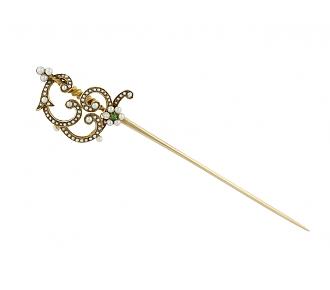 Antique Victorian Pearl and Demantoid Garnet Pin in 14K