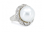 Baroque Pearl and Diamond Ring in Platinum