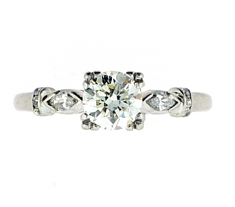 Mid-Century Round 0.73 Carat K/VS Diamond Engagement Ring in Platinum