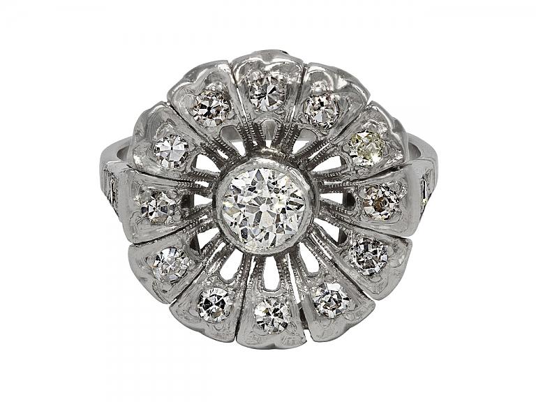 Video of Art Deco 'Flower' Diamond Ring in Platinum