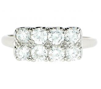 Mid-Century Diamond Ring in Platinum
