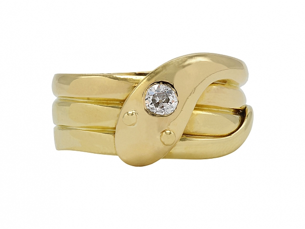 Antique Victorian Diamond Snake Ring in 18K Gold