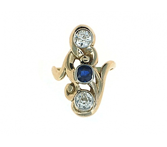 Antique Art Nouveau Sapphire and Diamond Ring in 14K