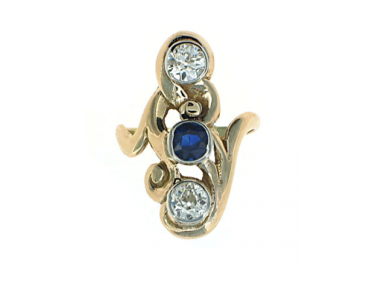 Video of Antique Art Nouveau Sapphire and Diamond Ring in 14K