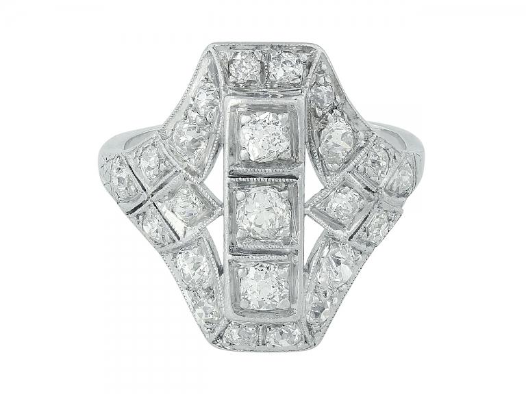 Video of Art Deco Diamond Ring in Platinum