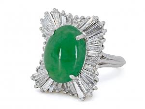 Mid-Century Green Jade and Diamond Ring in Platinum